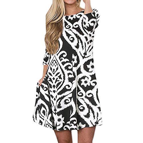 Chaofanjiancai_Dress for Women, Women's Bohemian 3/4 Sleeve Pocket