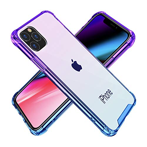 BAISRKE iPhone 11 Pro Max Case, Slim Shock Absorption Protective Cases Soft TPU Bumper & Hard Plastic Back Cover for iPhone 11 Pro Max 2019 [6.5 inch] - Blue Purple Gradient Diamond Chrome Hard Case
