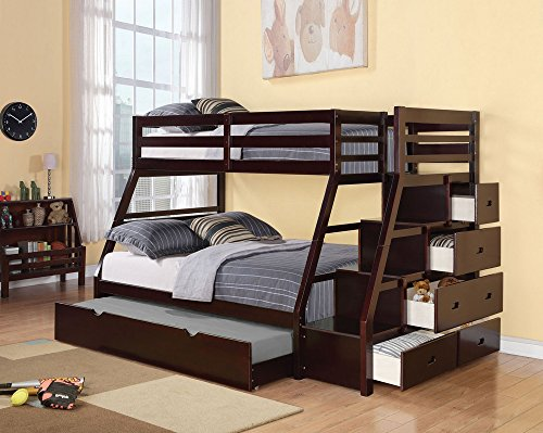 (ACME Jason Twin/Full Bunk Bed with Storage Ladder and Trundle)
