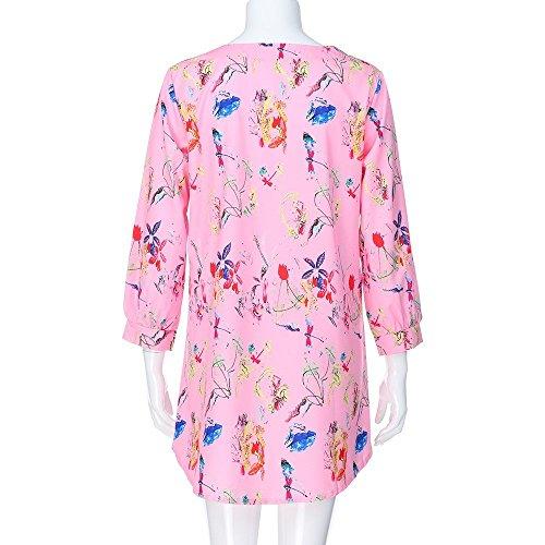 Pull T V Femme imprim dcontract Chemisier Blouses Femmes Blouse Pink LGant RTro Lace Chic Trois Top Shirt T Quarts de Shirt dcontract Bouton Chandail Top col Fleuri Hwqftn6C5q