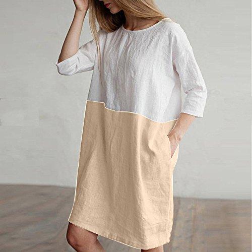 Vestidos túnica Lino Suelto Caqui algodón Mujer Bolsillos Mangas con Vestido para Modaworld Vestir de Casual Casual Mujer DE Vestido Falda 1 ❤️ Ropa Camisetas de 2 de rw0HqrC