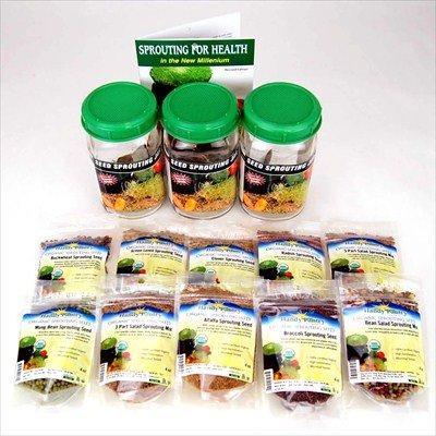 3 Jar Sprouting Starter Kit: Three 1 Quart Sprouting Jars, Instructions & 2.5 Lbs Organic Seeds: Alfalfa, Brocolli, Radish, Clover, Lentil, Mung Bean, Buckwheat, Bean Salad Mix, More