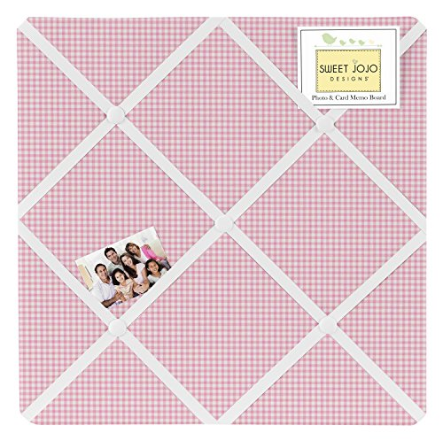 Pink Gingham Fabric Memory/Memo Photo Bulletin Board for French Toile Collection