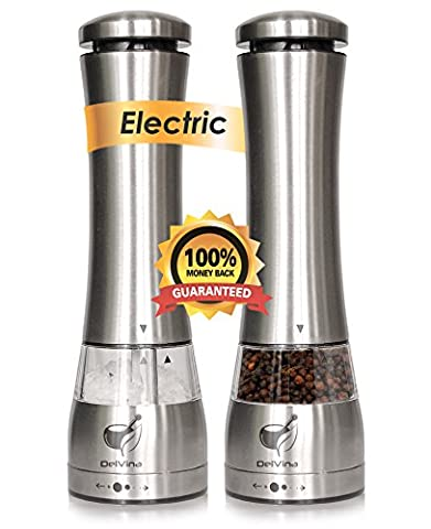Premium Electric Salt and Pepper Grinder Set by Delvina Electric Salt & Pepper -Pack Of 2 Mills- LED Light, Battery Operated Stainless Steel - Stainless Steel Electric Pepper Mill
