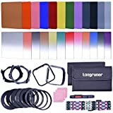 Longruner Complete 24 Pieces Square Filter Sets Filters Kit Compatible with Cokin P Series Bundle with Filter Holder Adaptor Ring Lens Hood Cleaner Strap for DSLR Cameras (44 items) (lens)