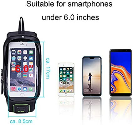 ROCKBROS Waterproof Mountain Bike Front Frame Bag Cycling Pannier Tube Bag Touch Screen Phone Case for 5.8 inch 6.2 inch iPhone Samsung Cell Phone