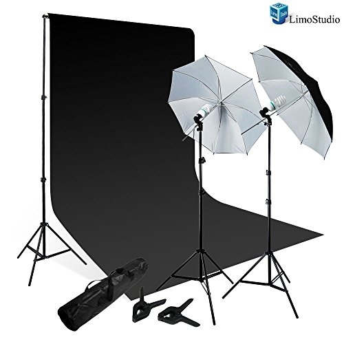 LimoStudio 800-840W Photography Lighting Kit, Studio Backdrop Support, 10′ x 10′ Black Muslin Background Photo Portrait Studio Large 40″ Black/White Umbrella Continuous Lighting Kit, AGG1728