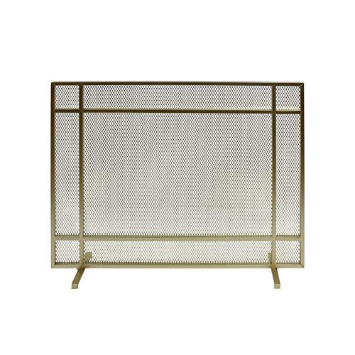 Great Deal Furniture Markus Modern Single Panel Iron Firescreen, Gold Finish