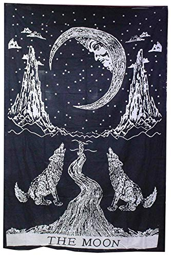 raajsee Black and White Crying Wolf Tapestry Hippie,The Moon Tapestries Wall Hanging Mandala, Indian Cotton Boho Bedspread, Bohemian Bedding, Yoga Mat Rugs Meditation Tapestrys 54x71 Inches ()