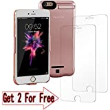 Pink gold iPhone 7 Plus 6 Plus 6S Plus Battery Case, (5.5-inch) 8000mAh Rechargeable Protective Portable Charging Case for iPhone 7+ Plus Power Pack Speed-JS
