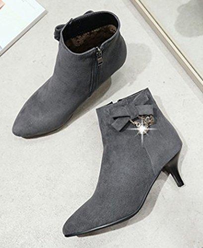 Bottines Sexy Cheville Femme Aisun Kitten Noeud heel Pointues Strass Gris 4Bwq8wSx