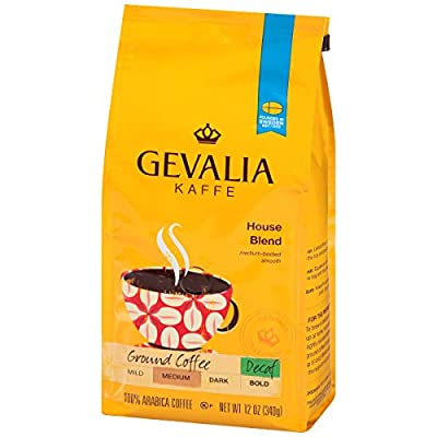 GEVALIA House Blend, Decaf, Ground, 12 Ounce, (Pack of 6)