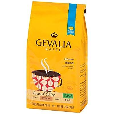 GEVALIA House Blend, Decaf, Ground, 12 Ounce, 6 Pack