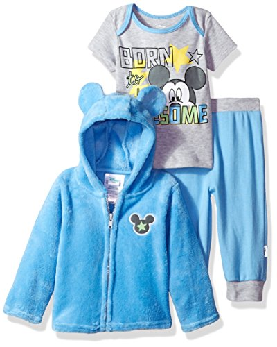 Disney Baby Boys' Mickey Mouse 3 Piece Hoodie, Bodysuit OR T-Shirt, Pant Set, Boy Blue, 24 Months -
