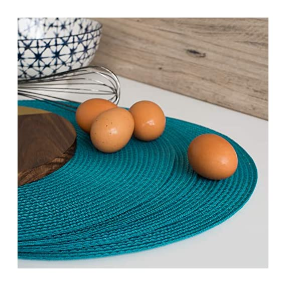 Now Designs Disko Round Placemats, Set of Four, Peacock - This placemat set includes four matching woven placemats Each placemat in the set measures 15 inches in diameter Sturdy and durable, these placemats are ideal for year round dining indoors or outdoors - placemats, kitchen-dining-room-table-linens, kitchen-dining-room - 51UsTcF0wPL. SS570  -