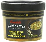 Campbell's, Slow Kettle Style, Soups, Stews, Chowders & Bisques, 15.5oz Bowl (Pack of 4) (Pick Flavors) (Tuscan Chicken w/ White Bean Soup)