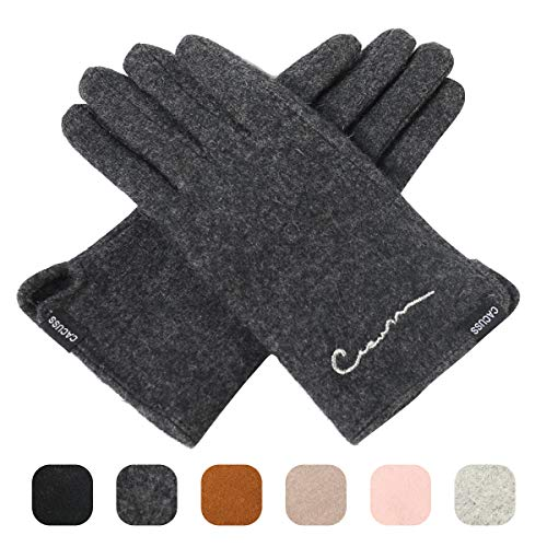 Gloves Striped Nylon (CACUSS Women's Winter Wool Knit Gloves Touchscreen Texting Finger Tips with Warm Fleece Lining (Dark gray))