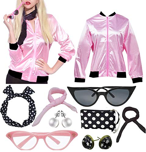 50'S Costume Party Pink Stain Ladies Jacket with Scarf (XXL, Rhinestone ()