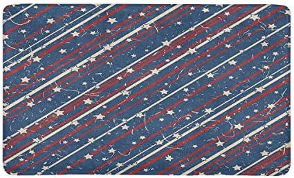 INTERESTPRINT American Patriotic Stars and Stripes in Vintage Colors Doormat Non-Slip Indoor and Outdoor Door Mat Rug Home Decor, Entrance Rug Floor Mats Rubber Backing, X-Large 30 L x 18 W