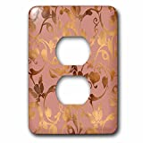 3dRose Uta Naumann Faux Glitter Pattern - Luxury Shiny Elegant Rose Gold Floral Flower Copper Damask Pattern - Light Switch Covers - 2 plug outlet cover (lsp_272877_6)