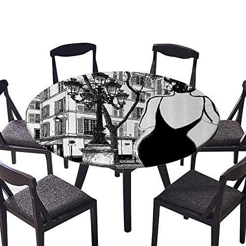 """Picnic Circle Table Cloths Young Elegant Woman in Black Dress in Paris StreOld Building cade Cityscape for Buffet Table, Holiday Dinner 35.5""""-40"""" Round (Elastic Edge)"""