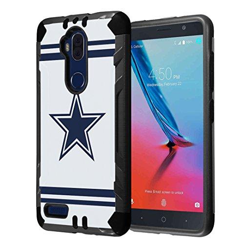 Capsule Case Compatible with ZTE Max XL N9560/ Blade Max 3 Z986 Z986U/ Max Blue 4G LTE Z986DL/ ZTE Bolton (4G LTE) Hybrid Slim Combat Case (Black) - (Cowboy) (Phone Cases For A Boost Max Zte)