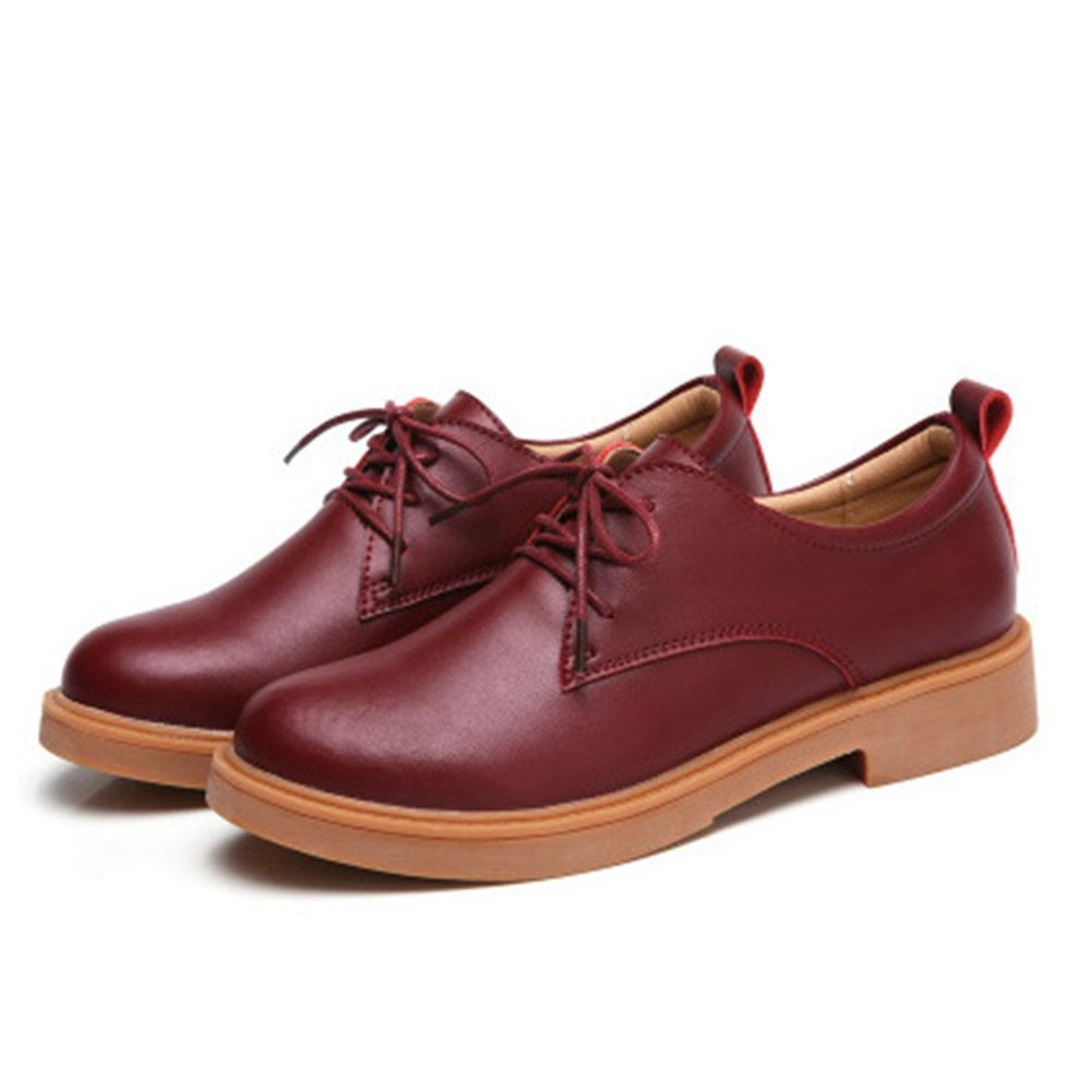 Classic Lace-up Low Heel Round Toe Casual Shoes T-JULY Womens Retro Oxfords Shoes