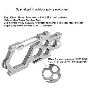 Ezyoutdoor Pocketknife Carabiner Kit Utilities 7 Wrench Pulley Para-Biner Para Cord Carabiner Multitool Screwdrivers Bottler Opener with Wire Saw