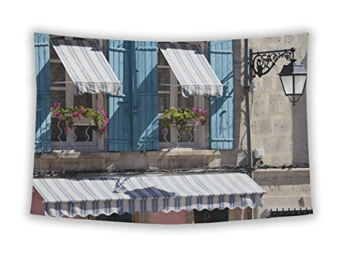 Awning Style Windows (Gear New Wall Tapestry For Bedroom Hanging Art Decor College Dorm Bohemian, Louvre France Provence Style Cottage Windows Blue Shutters, 60x51)
