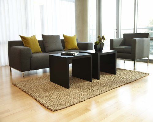 Nautural Fiber Jute Rug 5-Feet by 8-Feet Diamond Brown Geometric Carpet