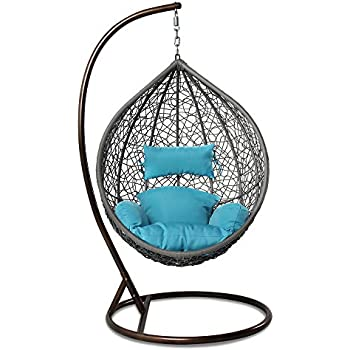 Amazon Com Resin Wicker Hanging Egg Chair Outdoor Patio