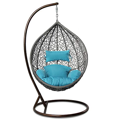 Island Gale Hanging Basket Chair Outdoor Patio Furniture with Stand and Cushion Grey Wicker, Turquoise Cushion