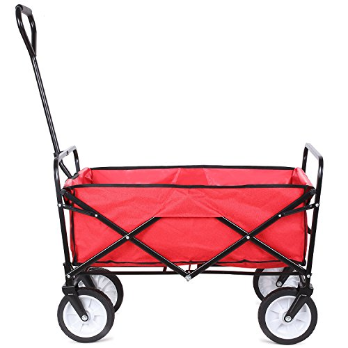 FIXKIT Collapsible Outdoor Utility Wagon, Folding Sturdy Garden Shopping Cart for Beach with All-Terrain Wheels, Red by FIXKIT