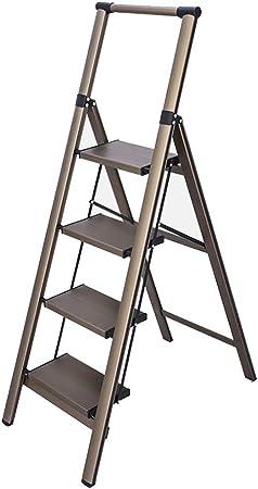XEWNEG Aleación De Aluminio De 4 Pasos Escalera, Escalera Plegable, Ligero, con La Seguridad De Los Apoyabrazos, Antideslizante De Goma De La Estera del Piso, For Interior Y Exterior Escaleras: Amazon.es: Hogar