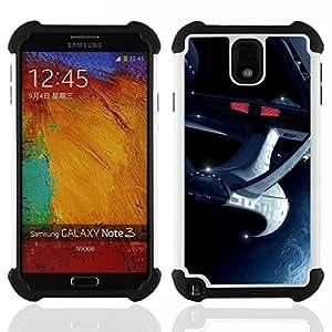 BullDog Case - FOR/Samsung Galaxy Note3 N9000 N9008V N9009 / - / The Enterprise Space Ship /- H??brido Heavy Duty caja del tel??fono protector din??mico - silicona suave