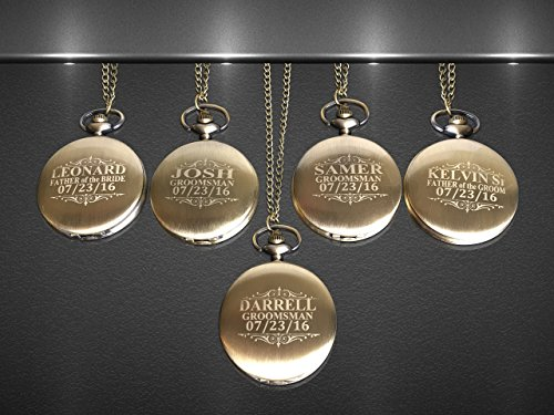 Personalized Vintage Pocket watch set of 5, Groomsmen pocket watches. Boxes included, chain and engraving is included.