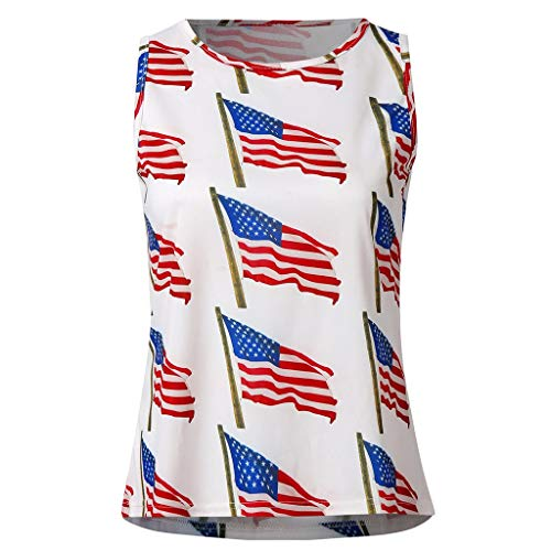 YOCheerful Woman's American Vest Summer Independence Day Print Mini Vest Tops Slim Basic Tank Tops(White, S)]()