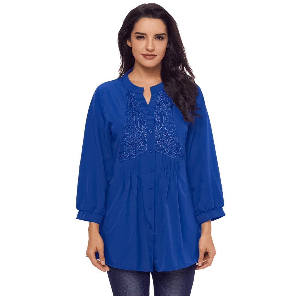 Yoyorule Autumn Pullover Top Spring/Autumn Women's Fashion Long Sleeve V-Neck Lace Patchwork Ruffle Shirt Blue
