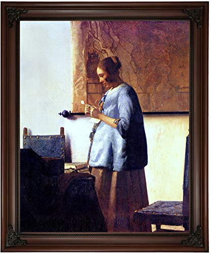Historic Art Gallery Women in Blue Reading a Letter by Johannes Vermeer Framed Canvas Print, Size 16x20, Brown (Woman In Blue Reading A Letter Vermeer)