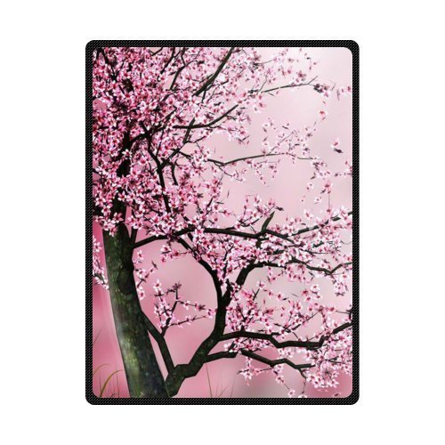 """Kameng Print With The Cherry Blossom Tree Throw Blanket Soft and Comfortable Sofa/Bed Blankets 58"""" x 80"""""""