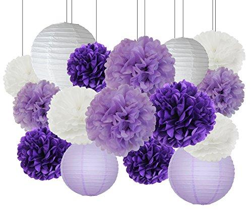 Furuix Purple Wedding Shower Decorations 16pcs White Lavender Purple 10inch 8inch Tissue Paper Pom Pom Paper Lanterns for Birthday/ Bridal Shower Decor Baby Shower Decorations