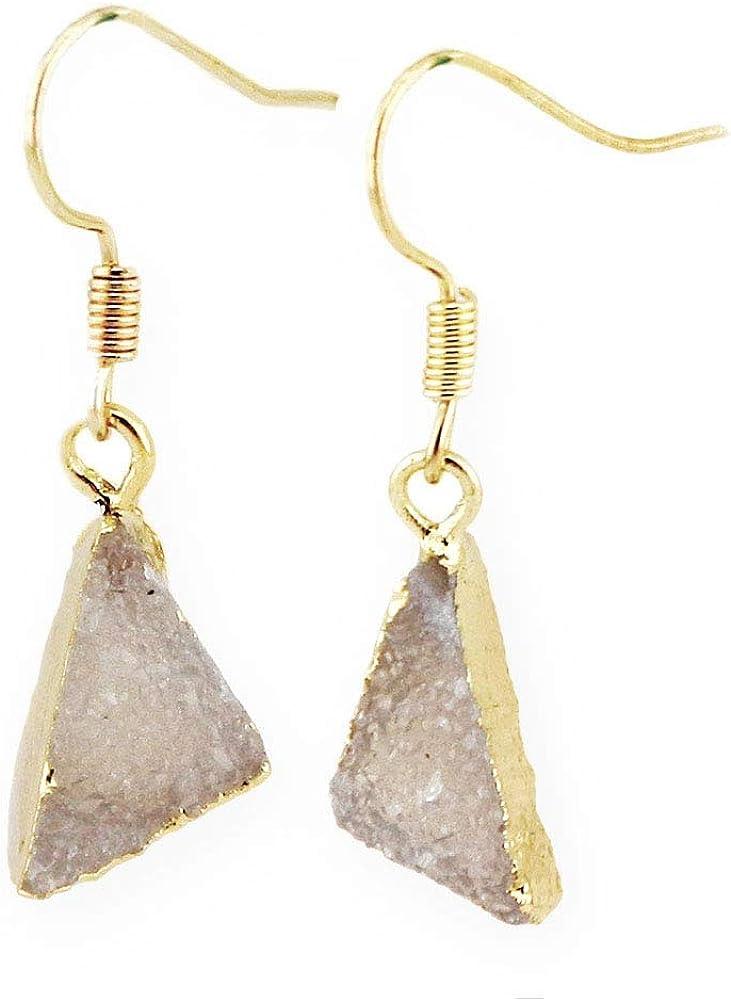 Chapado en oro real, cristal blanco natural geoda Drusy triángulo de cuarzo pendientes colgantes de gotas de borde, forma de triángulo irregular
