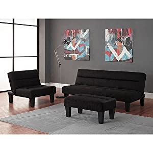 black 3pc modern futon sofa living room furniture set sofasleeper chair ottoman - Futon Living Room Set