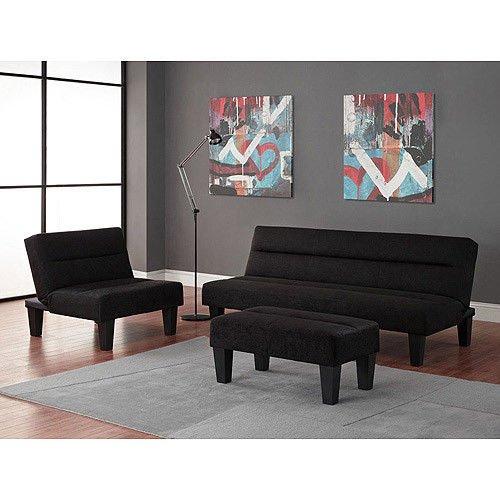 Black - 3pc Modern Futon Sofa Living Room Furniture Set: Sofa/Sleeper - Chair - Ottoman price