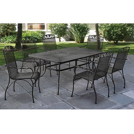 LOVE US Breezy 7-Piece Patio Dining Set Including a Rectangular Mesh Top Table with an Umbrella Hole, 6 Wrought Iron and Mesh Chairs with Distinctive Decorations on Arms and Back + Expert Home Guide