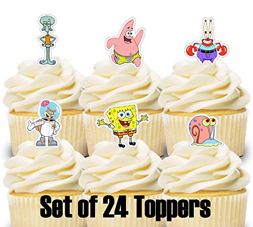 Spongebob Cupcake Toppers (24 Mini Cupcake Toppers Spongebob/Birthday Party/Cake)
