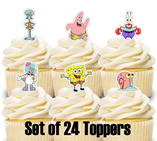 24 Mini Cupcake Toppers Spongebob/Birthday Party/Cake Decorations]()