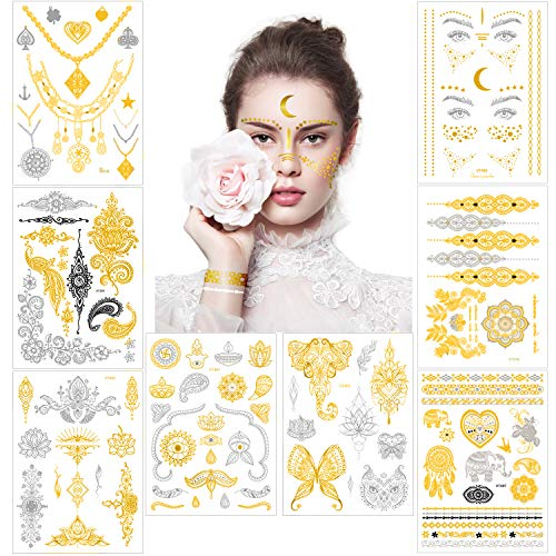 Flash Tattoos Festival Metallic Temporary Face Tattoos for Women Girls Kids, 8 Sheets Sexy Gold Silver Fake Jewelry Bride Tattoo Stickers, Glitter Body Make up for Birthday Bachelorette Rave Party -