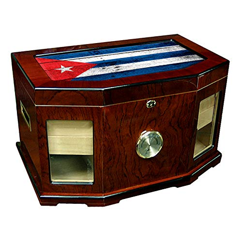 $258.74 cuban crafters humidor Large Premium Desktop Humidor – Glass Top – Flag of Cuba (Cuban) – Wood Design – 300 Cigar Capacity – Cedar Lined with Two humidifiers & Large Front Mounted Hygrometer. 2019