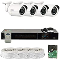 GW Security VD4CH4C250SDI 4-Channel Plug and Play DVR Outdoor Bullet Security Cameras